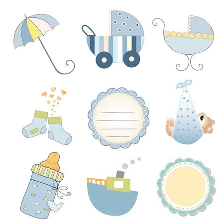 new baby boy items set isolated on white background, vector illustration