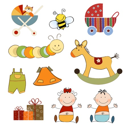 new baby items set isolated on white background, vector illustration