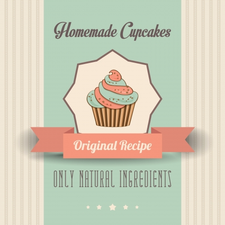 vintage homemade cupcakes poster, in vector format