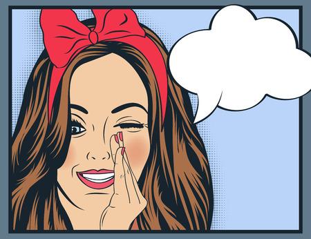 Ilustración de Pop Art illustration of girl with the speech bubble.Pop Art girl. Party invitation. Birthday greeting card.Vintage advertising poster. Fashion woman with speech bubble. - Imagen libre de derechos