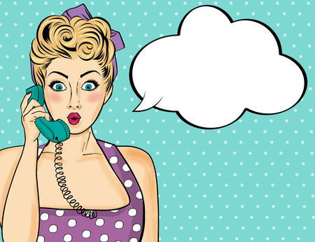 Illustration pour Pop art  woman chatting on retro phone  . Comic woman with speech bubble. Vector illustration. - image libre de droit