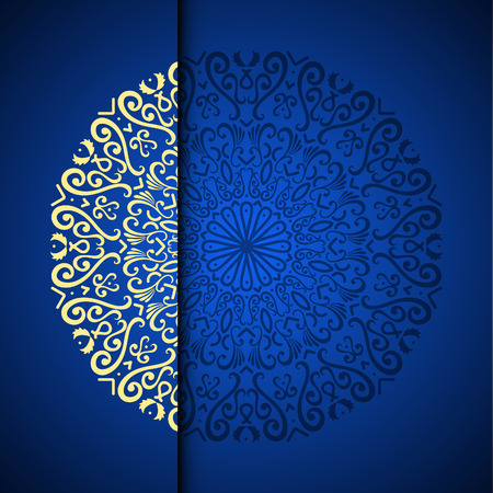 Ilustración de Vector gold oriental arabesque pattern background with place for text. Blue color - Imagen libre de derechos