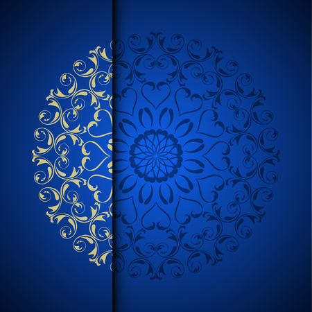 Foto de Vector gold oriental arabesque pattern background with place for text. Blue color - Imagen libre de derechos