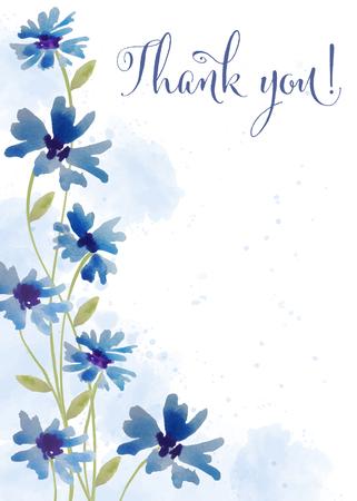 Ilustración de Beautiful watercolor floral card with message  Thank you , vector - Imagen libre de derechos