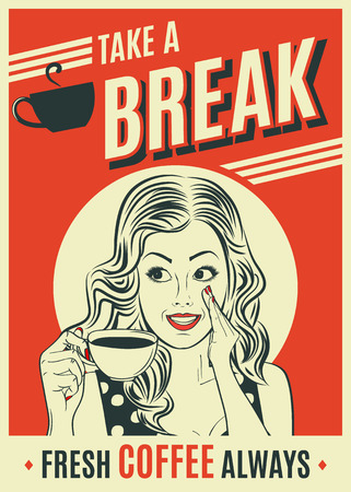 Illustration pour advertising coffee retro poster with pop art woman. Vector eps10 - image libre de droit