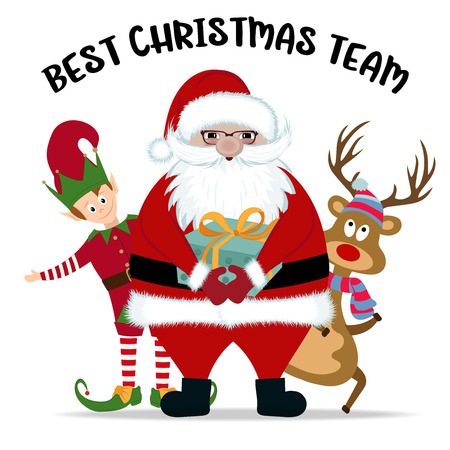 Illustration pour Best Christmas team, Santa, reindeer and elf - image libre de droit