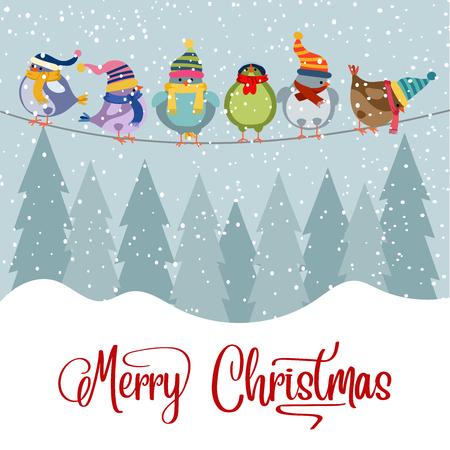 Christmas card with birds. Christmas background. Flat design. Vector