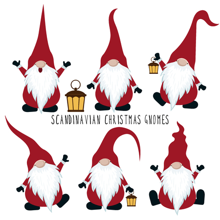 Illustration for Christmas gnomes collection isolated on white background. Vector - Royalty Free Image