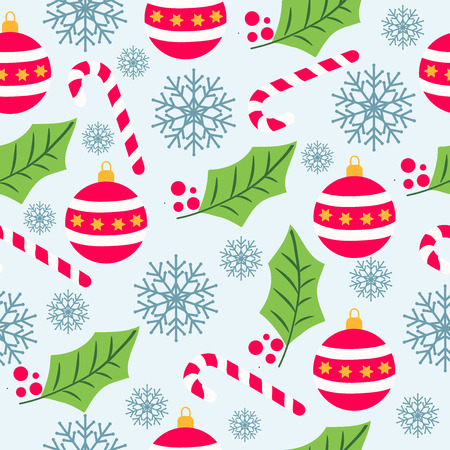 Ilustración de Christmas seamless pattern with snowflakes, candy canes, globes and mistletoe for Christmas background ,  wrapping paper, print. Vector - Imagen libre de derechos