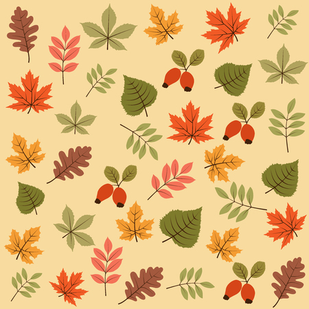 Illustration for autumn seamless pattern with leaves, vector - Royalty Free Image