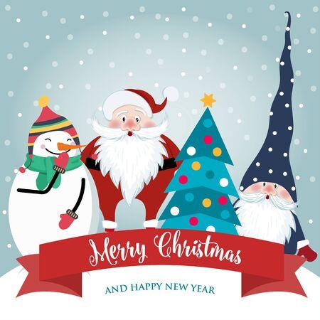 Vektor für Christmas card with cute Santa, gnome and snowman. Flat design. Vector - Lizenzfreies Bild