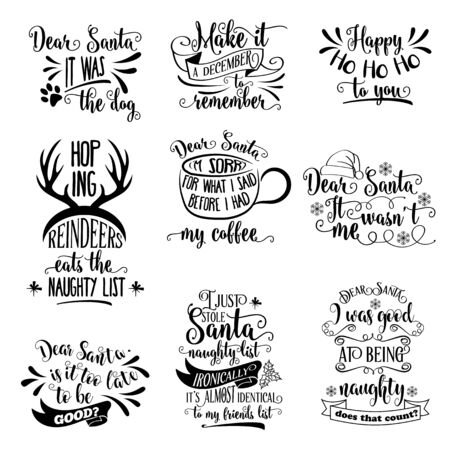 Illustration pour Huge Christmas quotes collection isolated on white. Vector - image libre de droit