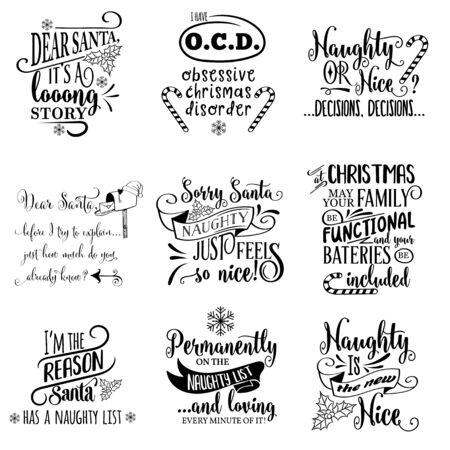 Illustration pour Cute Christmas quotes collection isolated on white. Vector - image libre de droit