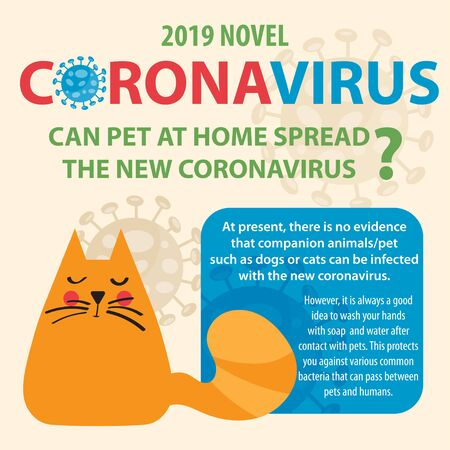 Illustration pour Coronavirus, Covid-19 and pet. - image libre de droit