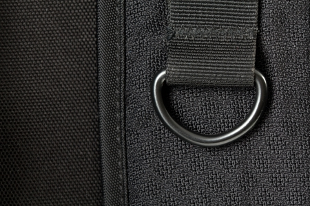 Details of black backpack. Shoulder straps backpack