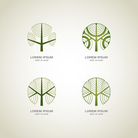 Green Tree logo. Green Circle Tree vector logo design. creative concept. Ecology Design Background. Vector Illustration.