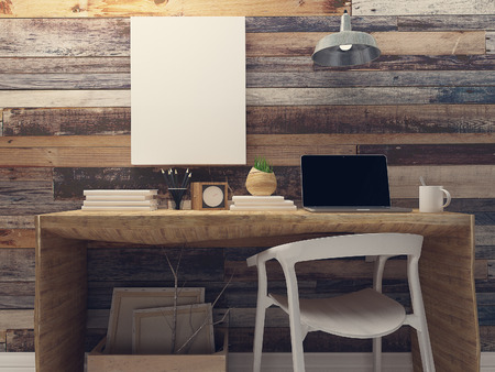 Photo for Blank canvas mockup on rustic wood wall retro interior - Royalty Free Image