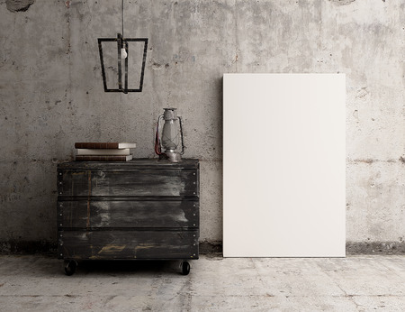 Photo for Empty canvas poster on rustic industrial concrete interior - Royalty Free Image