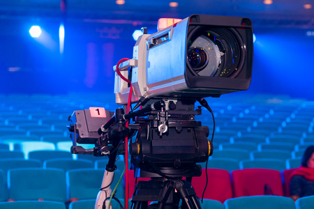 TV camera for shooting live events TV Broadcasting with a large lens in the Concert Hall