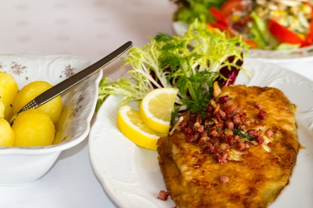 Covered Table with flounder fish