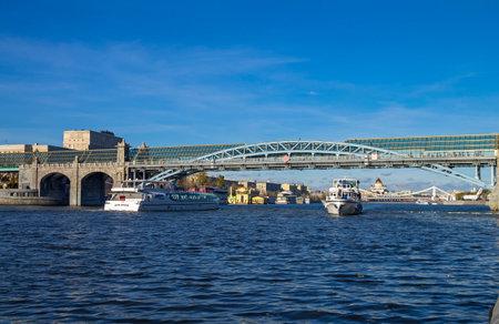 Pedestrian bridge across the Moscow River on a fine autumn day