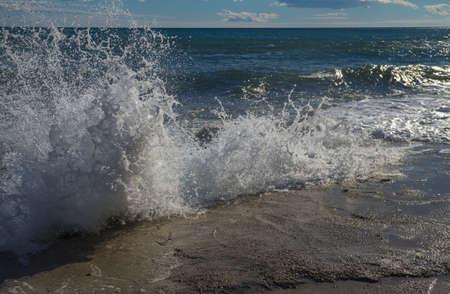 Sea wave in the surf  Crimea, the Black Sea coast