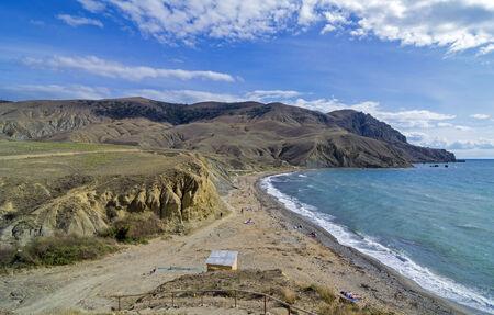 Small beach at the end of the season, Crimea, Cape Meganom, Black Sea