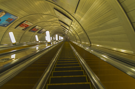 Empty escalator at the station of the Moscow metro.