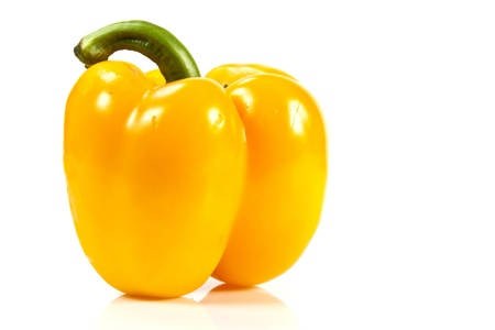 Yellow bell pepper on white background with blank text copy space