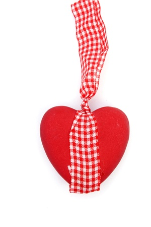 Ceramic vintage decorate heart isolated on white background and copy-space