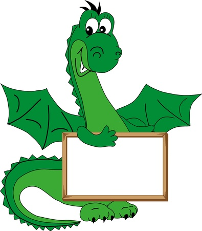 Green dragon holding a plate and smiling