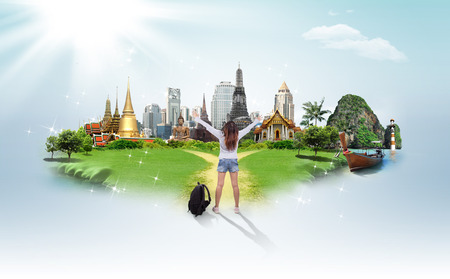Thailand travel background, concept