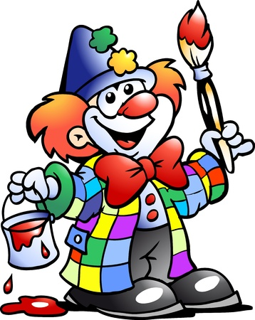 Hand-drawn Vector illustration of an Painting Clown