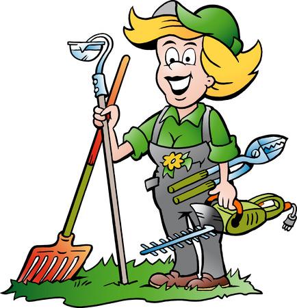 Illustration pour Vector Cartoon illustration of a Handy Gardener Woman standing with he Garden Tools - image libre de droit
