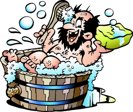 Illustration pour Cartoon Vector illustration of an Old dirty man who wash him selv in a Wooden Bathtub - image libre de droit