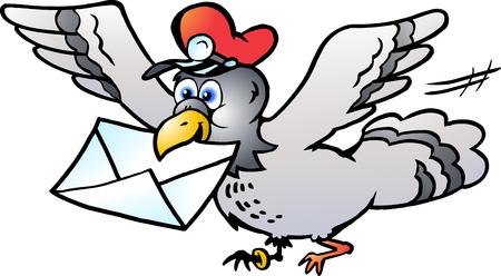 Ilustración de Vector Cartoon illustration of a Post Pigeon flying with a Letter - Imagen libre de derechos