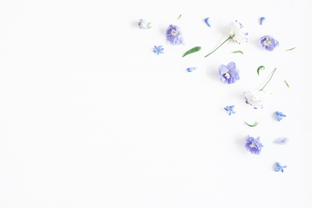 Foto de Flowers composition. Border made of lilac and white flowers. Flat lay, top view - Imagen libre de derechos
