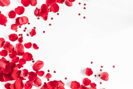 Photo for Valentine's Day. Flowers composition. Round frame made of rose flowers, confetti on white background. Valentines day background. Flat lay, top view, copy space - Royalty Free Image