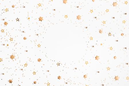 Photo pour Christmas composition. Christmas golden decorations on white background. Flat lay, top view, copy space - image libre de droit
