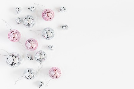 Photo for Christmas composition. Christmas balls, pink and silver decorations on white background. Flat lay, top view, copy space - Royalty Free Image