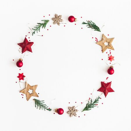 Foto de Christmas composition. Christmas wreath on white background. Flat lay, top view, copy space, square - Imagen libre de derechos
