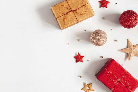 Photo for Christmas composition. Gifts, red and golden decorations on gray background. Christmas, winter, new year concept. Flat lay, top view, copy space - Royalty Free Image