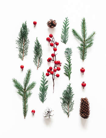 Photo pour Christmas composition. Coniferous tree branches on white background. Christmas, winter, new year concept. Flat lay, top view - image libre de droit