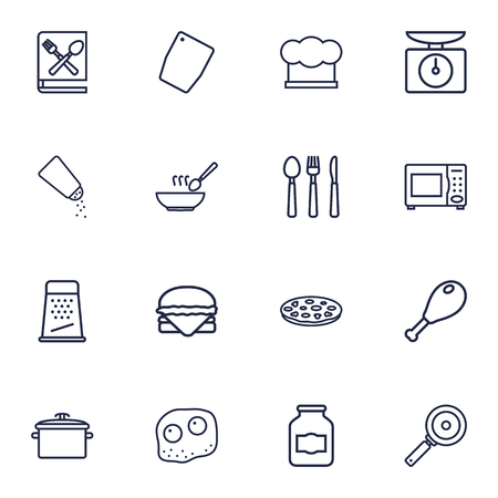 Set Of 16 Culinary Outline Icons Set.Collection Of Skillet, Salt, Pizza And Other Elements.