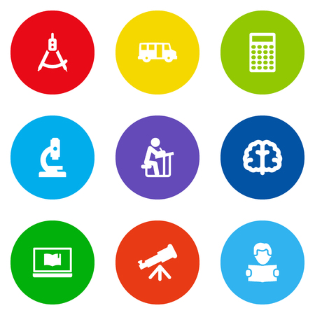 Set Of 9 Education Icons Set.Collection Of Reading, Calculate, School Autobus And Other Elements.
