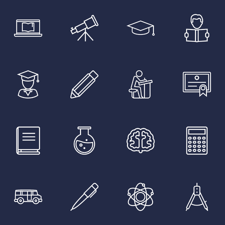 Set Of 16 Studies Outline Icons Set.Collection Of Laptop, Diploma, Atom And Other Elements.
