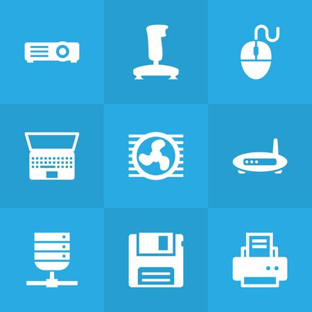Set Of 9 Computer Icons Set.Collection Of Joystick, Datacenter, Peripheral And Other Elements.