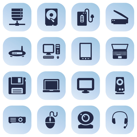 Set Of 16 Laptop Icons Set.Collection Of Computer, Diskette, Hard Disk And Other Elements.