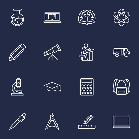 Set Of 16 Education Outline Icons Set.Collection Of Pupil, Backpack, Ruler And Other Elements.
