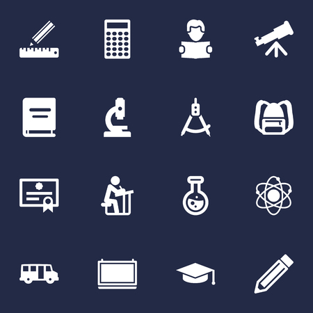 Set Of 16 Education Icons Set. Collection Of Blackboard, Drawing Tool, Molecule And Other Elements.